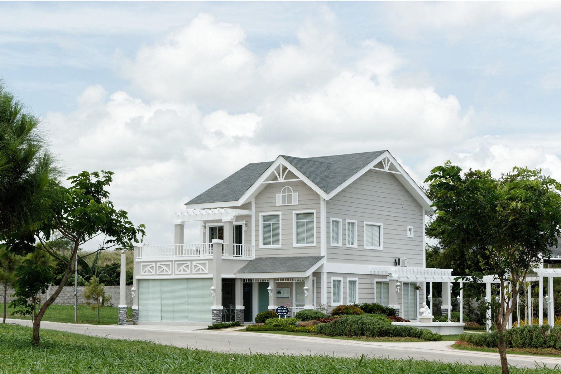 Wide shot of the facade of the Audrey Model House in Augusta | Brittany Sta. Rosa | Luxury Homes by Brittany Corporationis