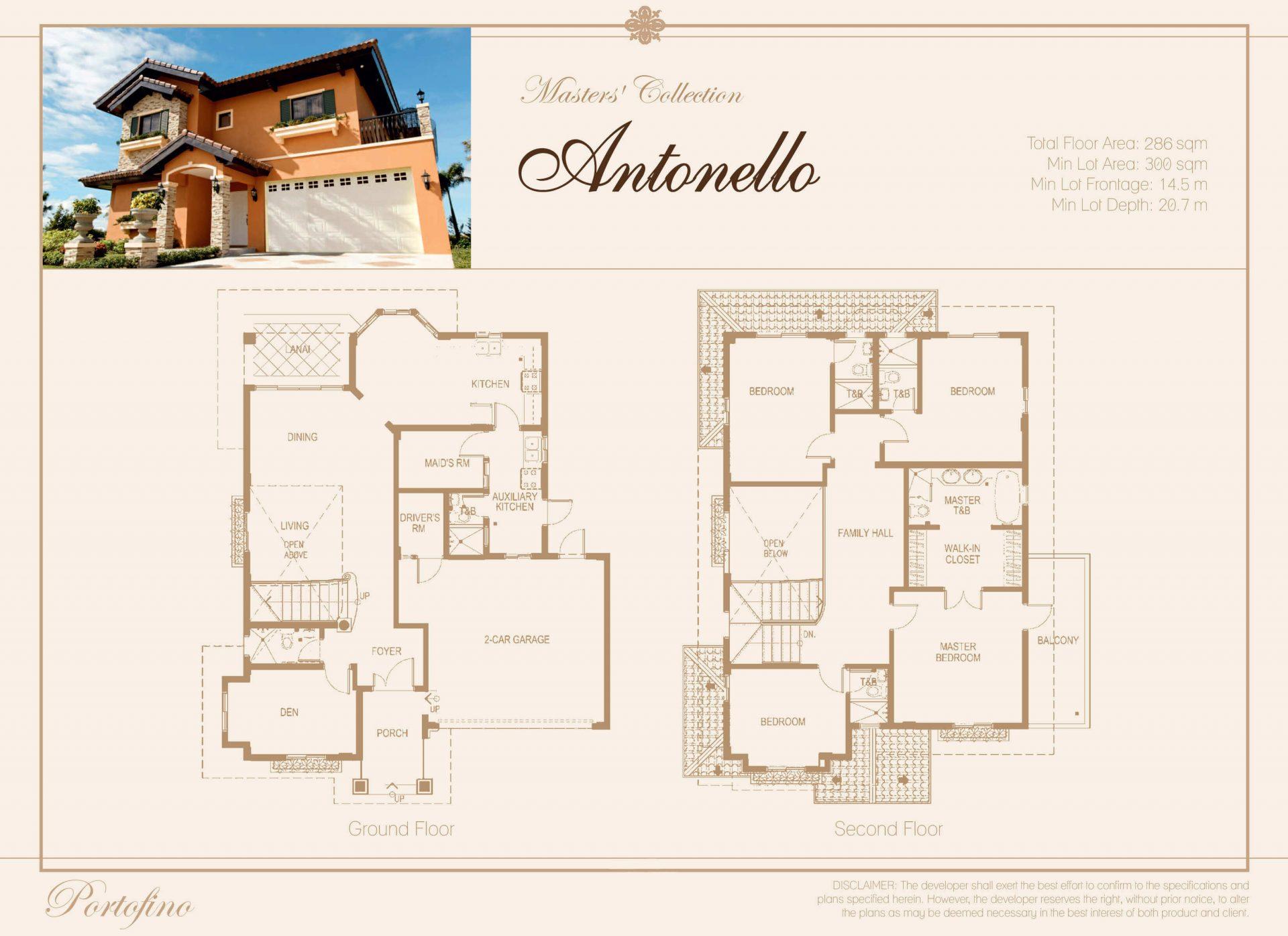 Vista Alabang | Portofino Heights | Antonello House Model Floor Plan | Luxury Homes by Brittany Corporation