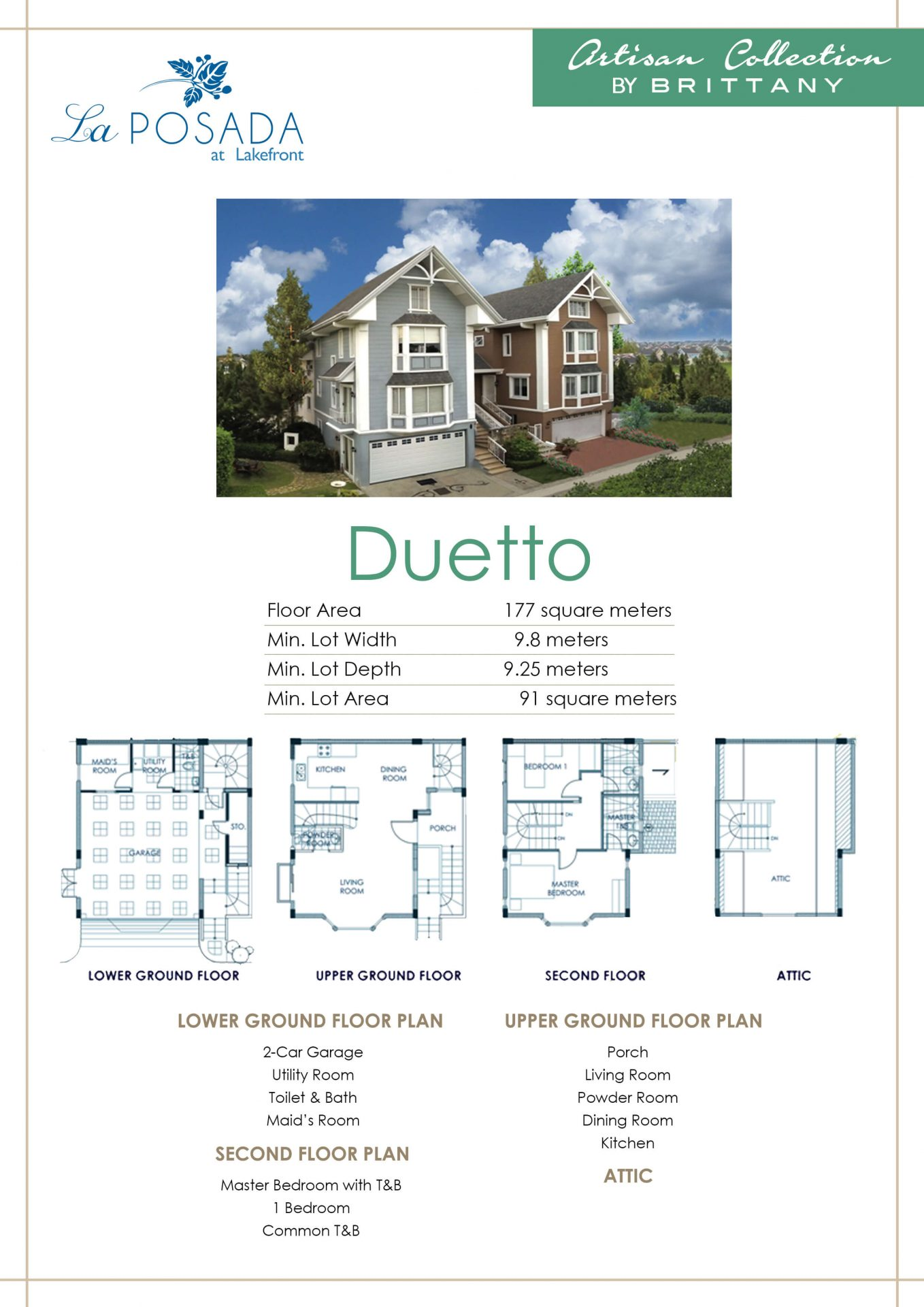 Vista Alabang | La Posada | Duetto House Model Infographic | Luxury Homes by Brittany Corporation