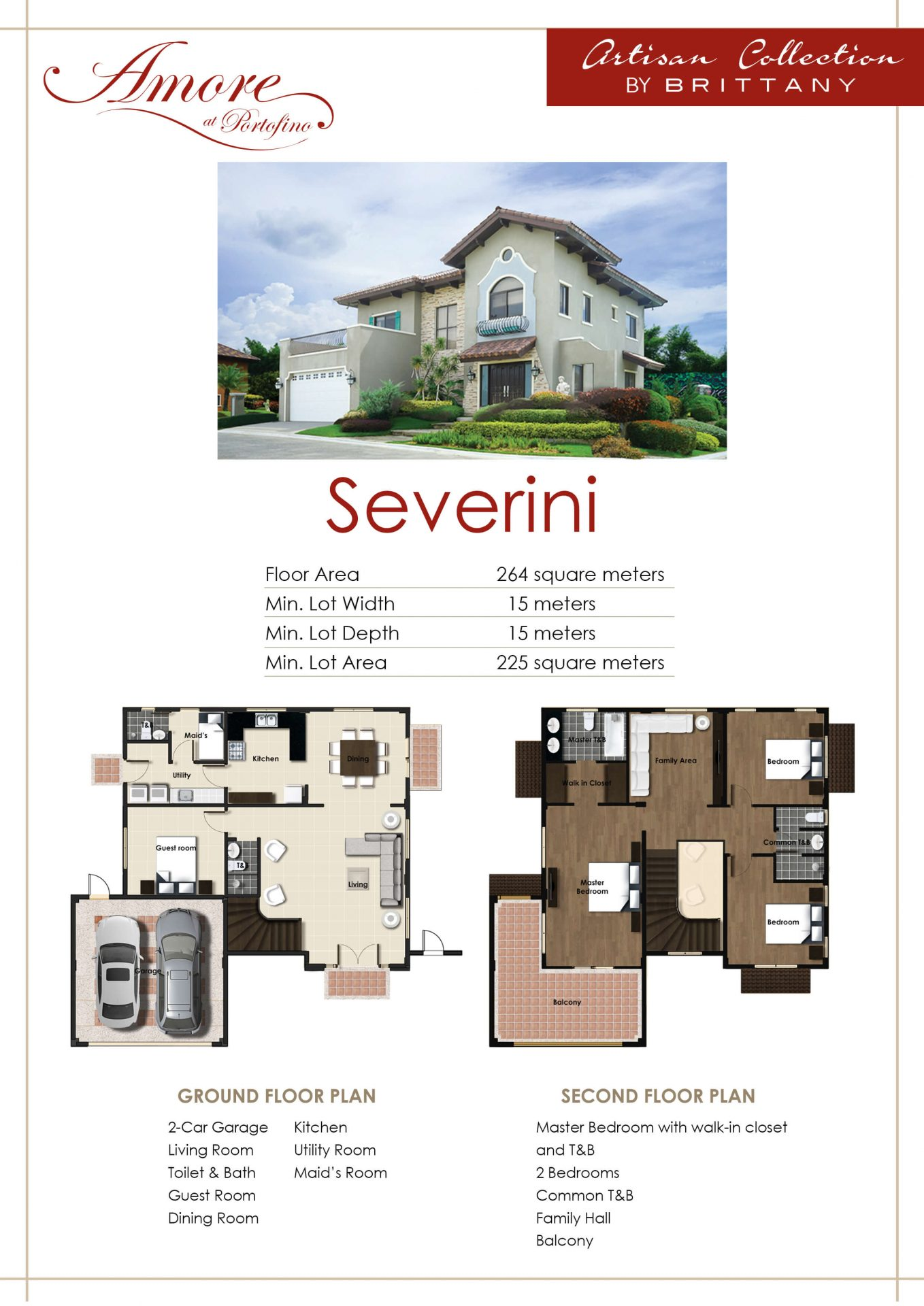 Vista Alabang | Amore at Portofino | Severini House Model Infographic | Luxury Homes by Brittany Corporation