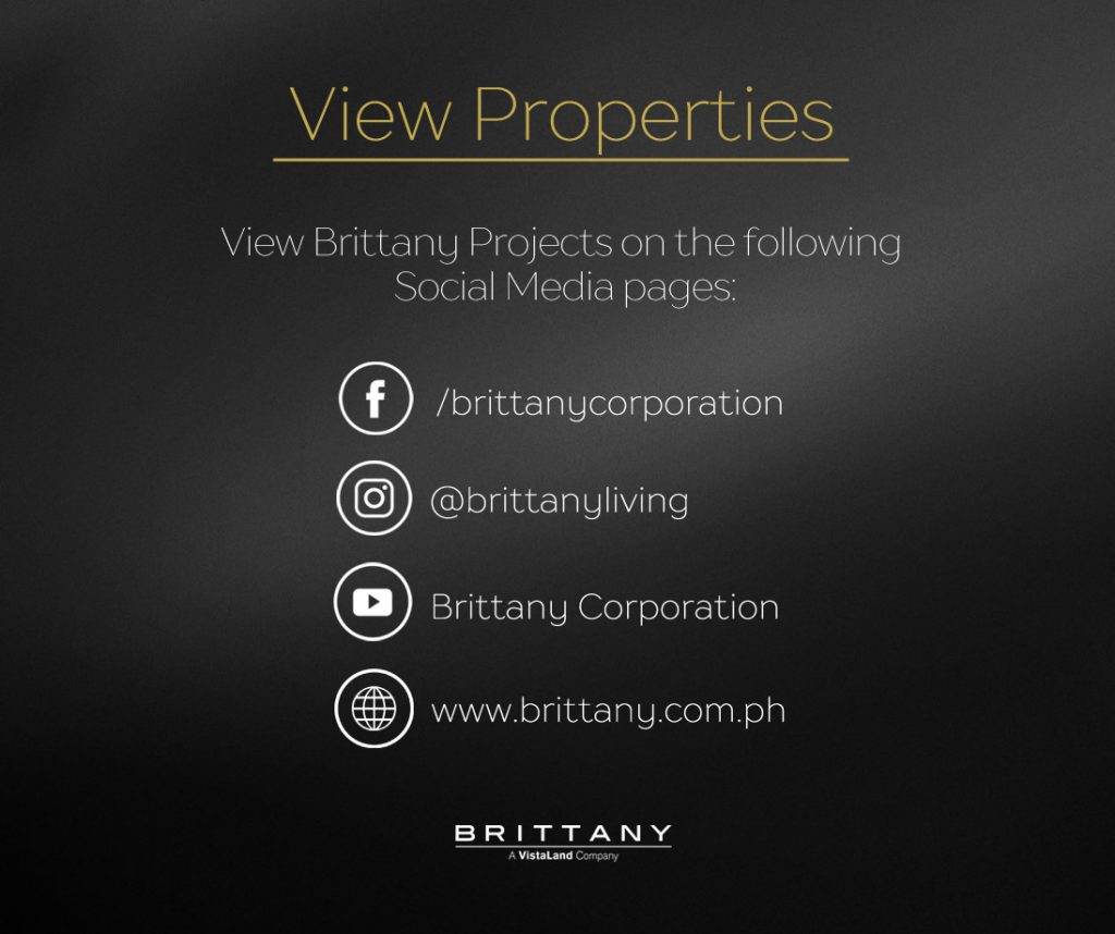 Plain black photos with words written: View Properties, view brittany projects on the following social media pages.   luxury homes bu brittany corporation