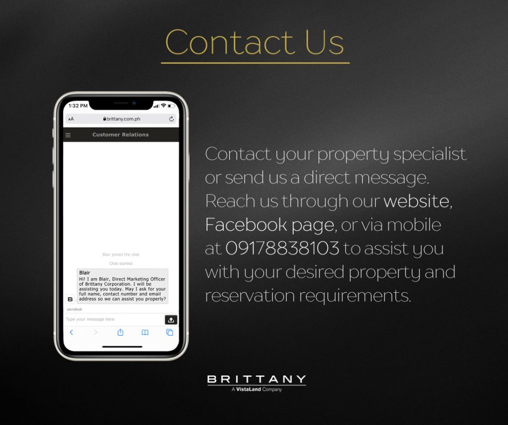 Black photo with an iphone 12 with a photo of a text message that cannot be read text says: contact your property specialist or send us a direct message. Reach us through our website, Facebook page, or via mobile at 09178838103 to assist you with your desired property and reservation requirements.   Luxury Homes by brittany corporation