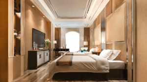 Modern contemporary interior design with neutral brown color scheme in a clean double bed hotel room and in a luxury house and lot - Luxury Homes by Brittany Corporation