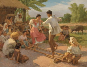 Oil painting of locals doing tinikling - Luxury homes by Brittany