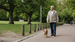 Old retired man in white collared polo shirt, blue denim jeans walking his dog in a park to stay active at home | Luxury Homes by Brittany Corporation