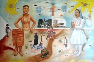 Karen Ocampo Flores' A Line of History | Painting of the Philippine flag with an indigenous tribal woman and traditional elements at the left, and a praying Filipino nurse in white uniform dress and a cross necklace and colonized elements at the right; all representing the timeline of Filipino traditional medicine | Luxury Homes by Brittany Corporation