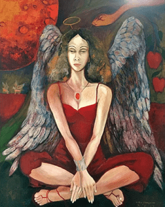 The Whisper by Kitty Taniguchi | Painting of a woman in a maroon red dress and a scarlet red necklace with angel feathered wings and a halo, sitting as a snake slithers to the side of her head by the apple tree | Luxury Homes by Brittany Corporation