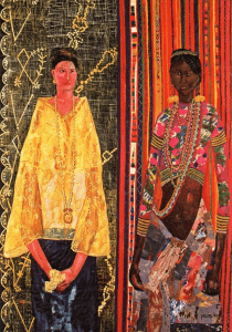 Woven artwork of two Filipino women; on the left is a Spanish colonized woman wearing the Baro't Saya national attire made of Pineapple fiber as she holds a handkerchief; on the right is a darker colored woman of the indigenous tribes wearing colorful traditional attire and accessories with a background of traditional weaving patterns | Luxury Homes by Brittany Corporation