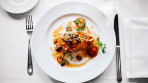 A plate serving of sweet honey lemon sauce chicken on a fine dining restaurant in metro manila | Luxury Homes by Brittany