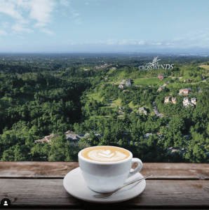 "A cup of coffee on a saucer with a teaspoon, on a wooden table, overlooking a landscape of a pine tree forest, dotted with mansions, and a huge ""Crosswinds"" sign, perfect vacation property 