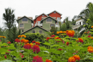 A garden of colorful flowers with a background of tall European cabin style Swiss quadrille houses | Luxury Homes by Brittany Corporation