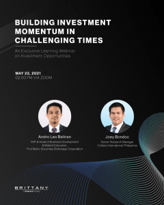 Official poster of Brittany Corporation's Exclusive Learning Webinar - Building Investment Momentum in Challenging Times | Luxury Homes by Brittany Corporation