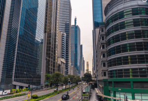 The towering skyscrapers of the Makati Central Business District