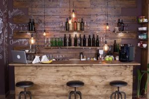 Coffee shop bar counter with wine bottles, Modern design, and Vintage atmosphere | Luxury Homes by Brittany Corporation