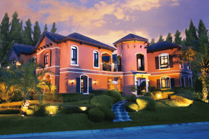 Italian mansion that's well lit during sunset | Luxury Homes by Brittany Corporation