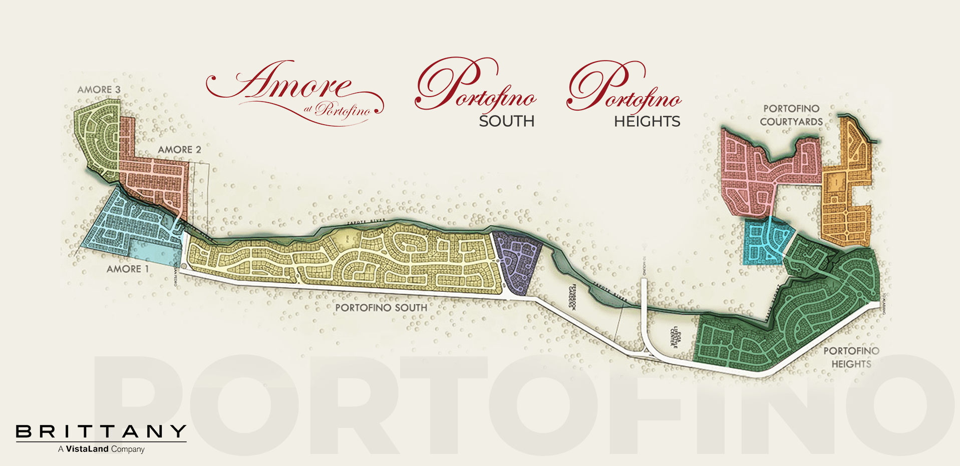 Site development map of Master plan of Portofino luxury house and lot near alabang - luxury house and lot for sale in Daang Hari - Brittany Corporation