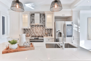 White marble floors and walls of a luxury dining room | Brittany Corporation