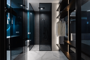 modern luxury walk-in closet with modern interiors for men bachelor's pad | luxury homes by brittany corporation