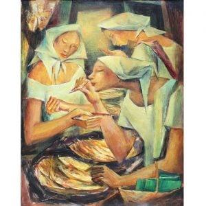 Tinapa Vendors (1955) Filipino painting by Philippine artist Anita Magsaysay-Ho