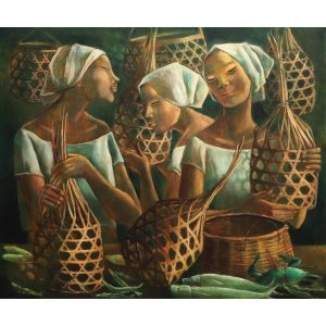 Women with Baskets, Fish, and Crab (1980) Philippine painting by Filipino local artist Anita Magsaysay-Ho