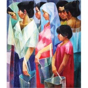 Pila sa Bigas (1975) Philippine painting by Filipino local artist Vivente Manansala (1910-1988), oil on canvas