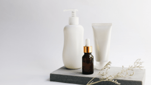 Clean and white simple skincare items for the spa   luxury lifestyle and homes by Brittany Corporation