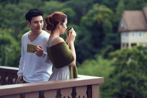 Couple enjoying their morning coffee at Crosswinds Tagaytay | Luxury Homes by Brittany Corporation