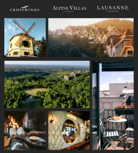 A collage photo of Crosswinds Tagaytay consisting of the development's amenities, leisure activities, environment, and other features.