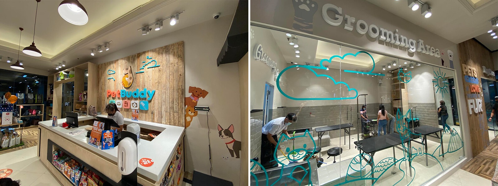 Collage of PetBuddy pet salon and luxury grooming services and vet clinic for cats and dogs in the Philippines | luxury homes by Brittany Corporation