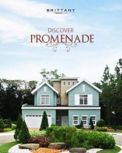 Poster of classic modern house with lush green courtyard, surrounded by pine trees.