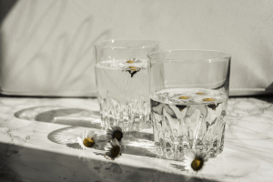 Two clear glasses of water with flowers on a marble tabletop   Luxury Homes by Brittany Corporation
