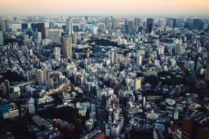 Top view of busy Tokyo City