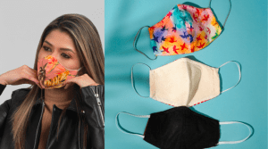 Woman flaunting her designed face masks as protection against the virus - Brittany Corporation