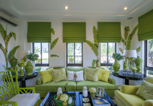 green interior design of a luxury home in portofino | Luxury homes by Brittany Corporation