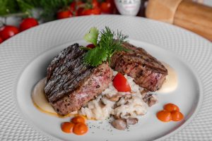 Steak is served in one of the best fine dining restaurants  