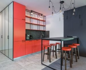 red luxury home kitchen   luxury homes by brittany corporation