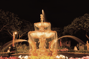 Water fountain in the night   luxury properties by Brittany corporation