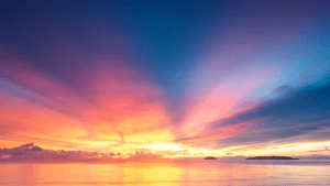Best sunset view in pink and blue sky with a scene of the sea - Brittany Corporation