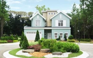 A huge model house in Promenade that features fresh hues and a lush open garden.
