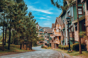 Photo of Crosswind Tagaytay's lush terrains and Swiss-inspired homes, with pine trees surrounding the area. | Luxury homes by brittany corporation