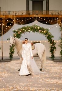Wedding dress with a horse behind the model