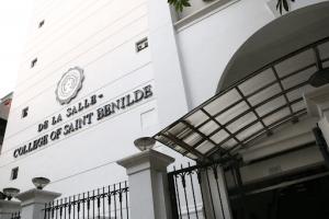 College of Saint Benilde facade white manila near vito cruz with plexiglass awning | Luxury homes by brittany corporation