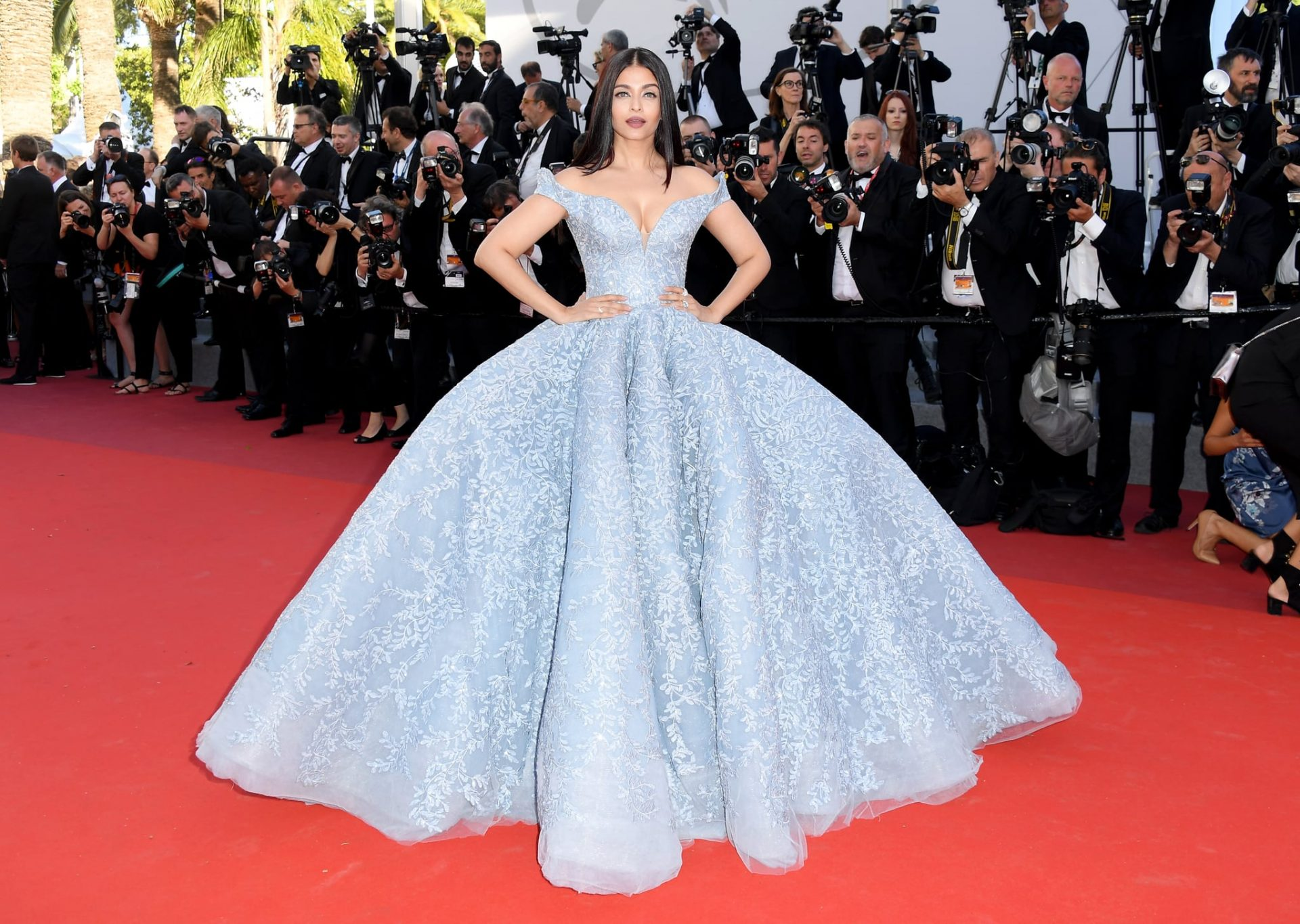 Aishwayra Rai in a Michael Cinco original baby blue dress on the red carpet | Luxury Homes by Brittany Corporation