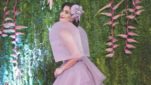 Anne Curtis in a lavander modern terno by Mich Dulce with a matching hat | Luxury home by brittany corporation