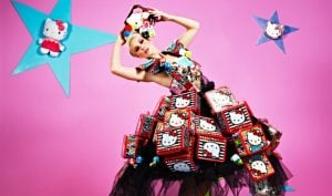 Laura Americas next top model wearing hello kitty lunch box dress by filipino fashion designer francis libiran | Luxury Homes by Brittany Corporation