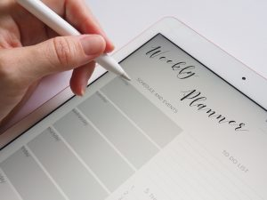 ipad weekly planner luxury real estate broker white apple pen   Luxury homes by brittany corporation
