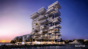 one palm dubai luxury condominium white facade purple and pink skies | Luxury Homes by Brittany Corporation